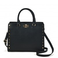 VK2095 Black - Studded Oversized Tote Bag