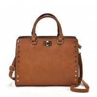 VK2095 Tan - Studded Oversized Tote Bag