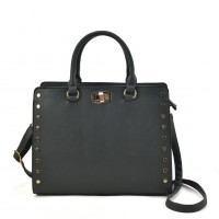 VK2095 Dark Grey - Studded Oversized Tote Bag