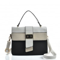 VK2096 Black - Contrasting Colors Litchi Grain Cross Body Bag