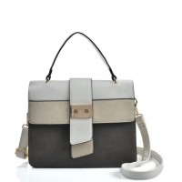 VK2096 Grey - Contrasting Colors Litchi Grain Cross Body Bag