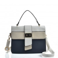 VK2096 Navy - Contrasting Colors Litchi Grain Cross Body Bag