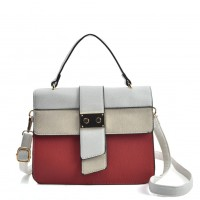 VK2096 Red - Contrasting Colors Litchi Grain Cross Body Bag