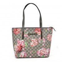 VK2100 Apricot - Floral Shopper Bag With Bow