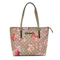 VK2100 Beige - Floral Shopper Bag With Bow