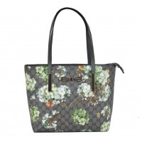 VK2100 Grey - Floral Shopper Bag With Bow