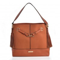 VK2104 Orange - Handbag With Tassel Design And Magnet Button Detail