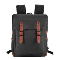 VK5045-1 Black - Simple Solid Flap Square Backpack