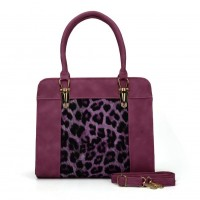 VK5104 Purple - Leopard Pattern Fashion Women Patchwork Handbag