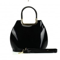 VK5112 Black - Fashion Women Smooth Solid Hangbag