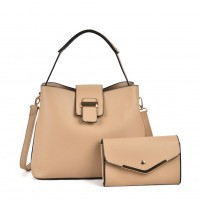 VK5121 Apricot - Fashion Women Solid High Capacity Handbags& Purses Set