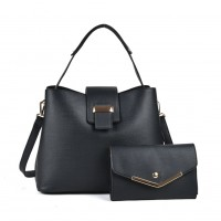 VK5121 Black - Fashion Women Solid High Capacity Handbags& Purses Set