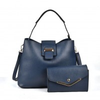 VK5121 Blue - Fashion Women Solid High Capacity Handbags& Purses Set