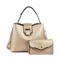 VK5121 Gold - Fashion Women Solid High Capacity Handbags& Purses Set