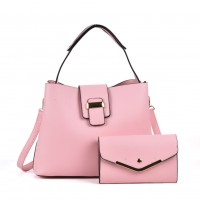 VK5121 Pink - Fashion Women Solid High Capacity Handbags& Purses Set