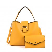 VK5121 Yellow - Fashion Women Solid High Capacity Handbags& Purses Set