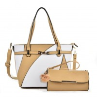VK5128 Apricot - Fashion Women Irregular Patchwork Handbag & Purses Set