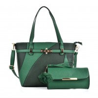 VK5128 Green - Fashion Women Irregular Patchwork Handbag & Purses Set