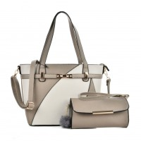 VK5128 Grey - Fashion Women Irregular Patchwork Handbag & Purses Set