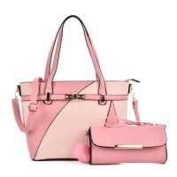 VK5128 Pink - Fashion Women Irregular Patchwork Handbag & Purses Set