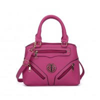 VK5137 Fushia - Patchwork Zipper Decoration Fashion HandBags