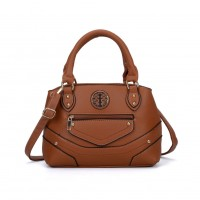 VK5139 Brown - Patchwork Metal Sheets Solid Women HandBags