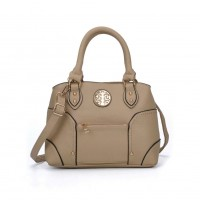 VK5140 Beige - Metal Sheets Decoration Solid Women HandBags