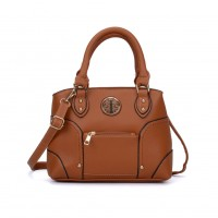 VK5140 Brown - Metal Sheets Decoration Solid Women HandBags