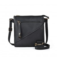 VK5144 Black - Casual Solid Women Soft Handbag