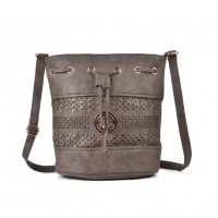 VK5150 Taupe - Hollow Pattern Fashion Women Soft Handbag
