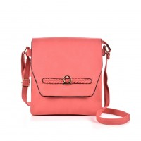 VK5153 Pink - Fashion Women Solid Woven Decoration Crossbody Bags