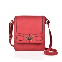 VK5155 Red - Fashion Patchwork Metal Butterfly Crossbody Bags