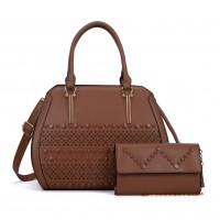 VK5161 Brown - Fashion Women Solid Hollow Handbag & Purses Set