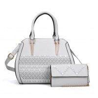 VK5161 White - Fashion Women Solid Hollow Handbag & Purses Set