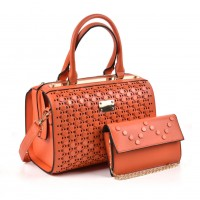 VK5162 Orange - Fashion Women Hollow Boston Handbag & Purses Set