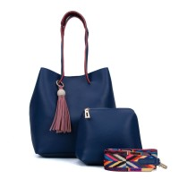 VK5173 Blue - Women Tassel Patchwork Soft Handbage & Purses Set