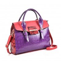 VK5181 Purple - Fashion Crocodile Pattern Women Patchwork Handbag