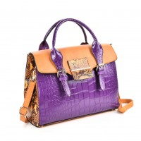 VK5181 Yellow - Fashion Crocodile Pattern Women Patchwork Handbag