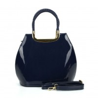 VK5187 Dark blue - Smooth Solid Women Zipper Handbags