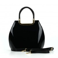 VK5187 Black - Smooth Solid Women Zipper Handbags