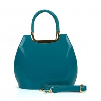 VK5187 Blue - Smooth Solid Women Zipper Handbags