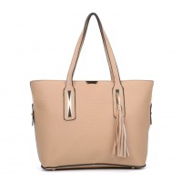 VK5196 Apricot - Women Stripe Solid Tassel Decoration Handbag