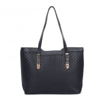 VK5197 Black - Fashion Women Patchwork Solid Handbags
