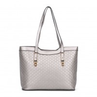 VK5197 Silver - Fashion Women Patchwork Solid Handbags