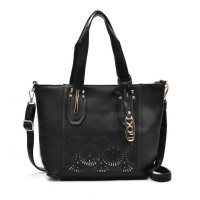 VK5198 Black - Lady Laser Cut Perforated Large Tote Bag