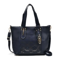VK5198 Blue - Lady Laser Cut Perforated Large Tote Bag
