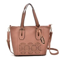 VK5198 Pink - Lady Laser Cut Perforated Large Tote Bag