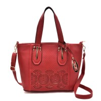 VK5198 Red - Lady Laser Cut Perforated Large Tote Bag