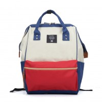VK5202 Beige - Oxford Patchwork Contrast Portable Backpack With Zip Detail