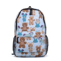 VK5216 Blue - Canvas Cute Backpack In Bears and horses